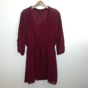 Lucky Brand cut out v-neck cinch waist dress